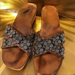 Coach denim Wooden Sandals 9.5(runs small)